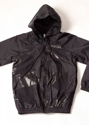 Black Patchwork Hooded Jacket Front Zoom