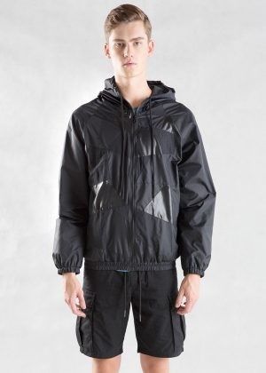 Black Patchwork Hooded Jacket Men Front