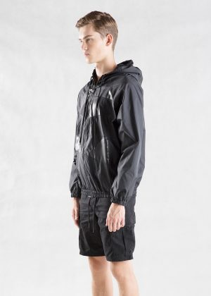 Black Patchwork Hooded Jacket Men Side