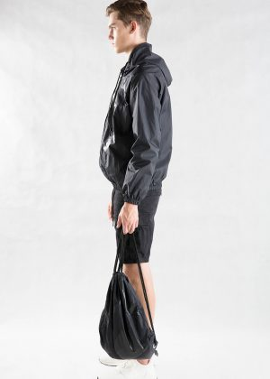 Black Patchwork Hooded Jacket Men with Bag