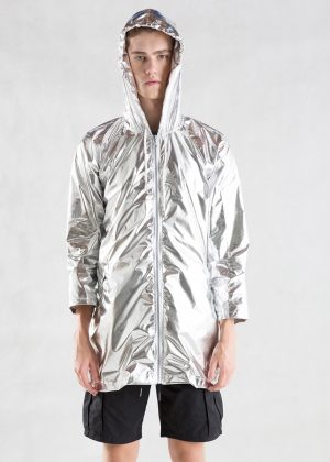 Sliver Metallic Light Jacket Men Hooded