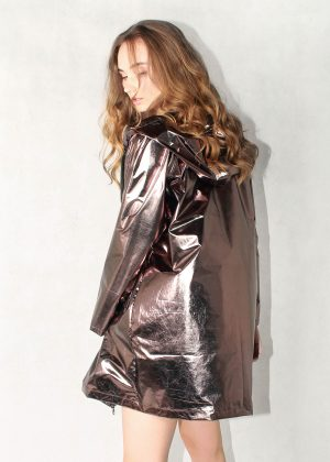 Bronze Metallic Light Jacket Women Back