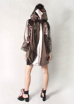Bronze Metallic Light Jacket Women Back Hood