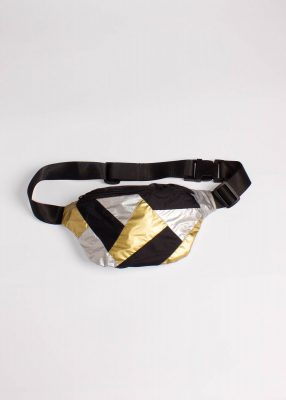 Gold and Silver Patchwork Fanny Pack Black 2