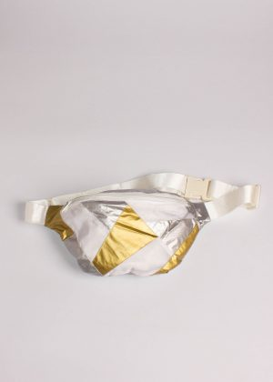 Gold and Silver Patchwork Fanny Pack White 1