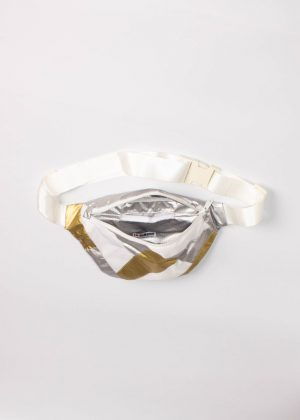 Gold and Silver Patchwork Fanny Pack white 2