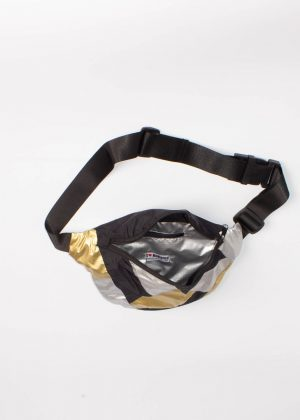 Gold and Silver Patchwork Fanny Pack Black 3