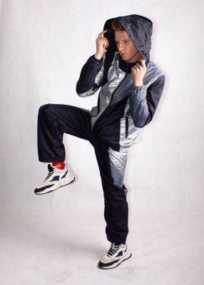 Silver and Black Windbreaker Tracksuit