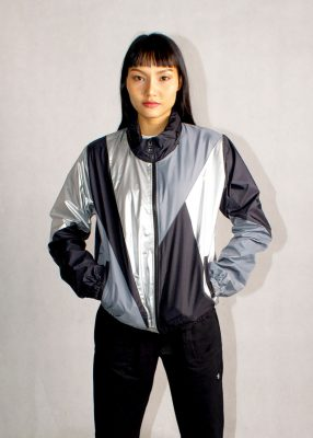 Black Silver Windbreaker Jacket Women
